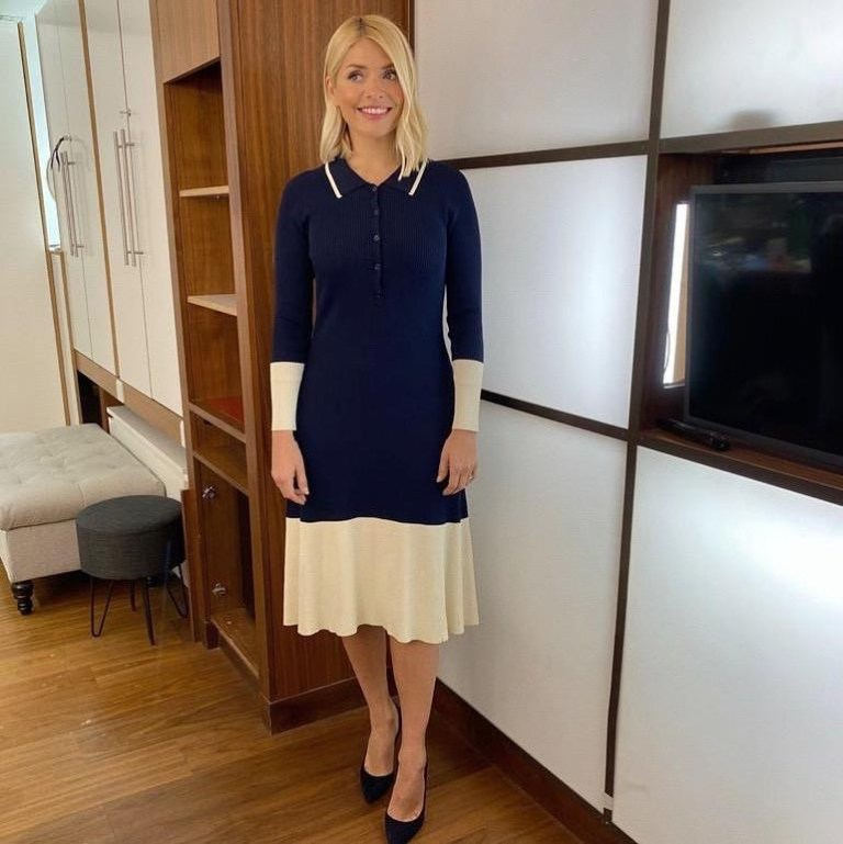 where to get all Holly Willoughby This Morning dresses navy and cream two tone knit dress 27 February 2020 Photo Holly Willoughby