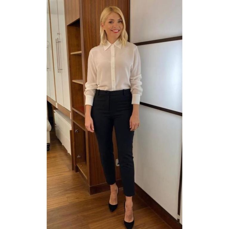 where to get all Holly Willoughby This Morning outfits cream silk shirt black trousers 25 February 2020 Photo Holly Willoughby