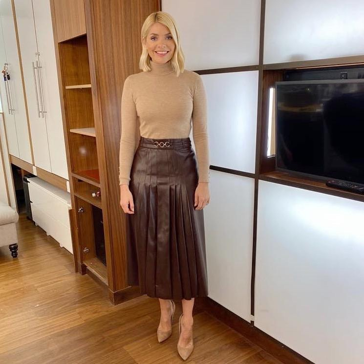 where to get all Holly Willoughby This Morning outfits pleated faux leather skirt light brown knit 11 February 2020 Photo Holly Willoughby