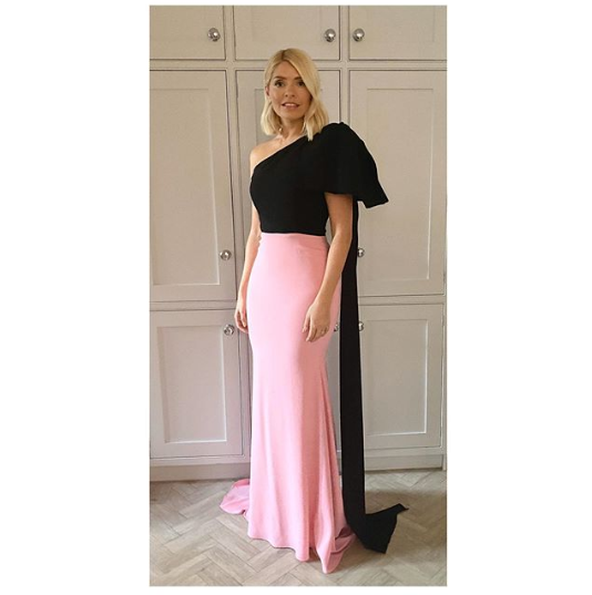 where to get Holly Willoughby black and pink gown The Princes Trust 13 February 2020 Photo Holly Willoughby