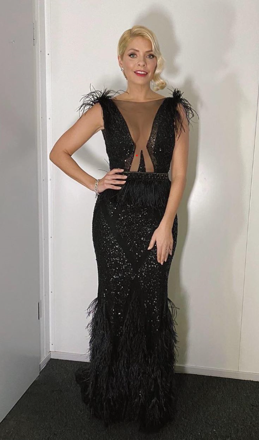 where to get Holly Willoughby Dancing on Ice dress 9 February 2020 black cut out sequin dress with feathers