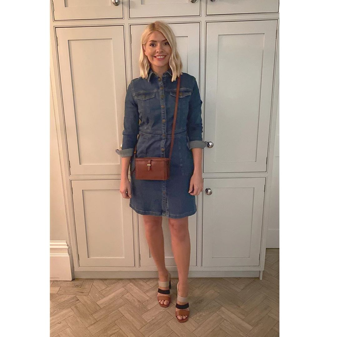 where to get Holly Willoughby dresses denim mini dress brown crossbody bag 3 strap sandals 4 February 2020 Photo Holly Willoughby