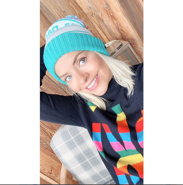 where to get holly Willoughby rainbow ski jumper blue and white hat 22 February 2020 Photo Holly Willoughby