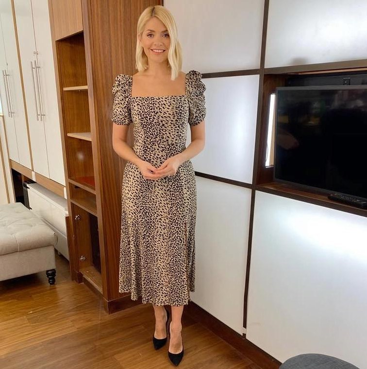 Where to get Holly Willoughby This Morning dresses puff sleeve square neck leipard print dress 12 February 2020 Photo Holly Willoughby