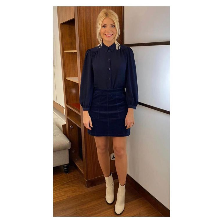 where to get Holly Willoughby This Morning outfit today blue cord mini skirt blue shirt cream boots 3 February 2020 Photo Holly Willoughby