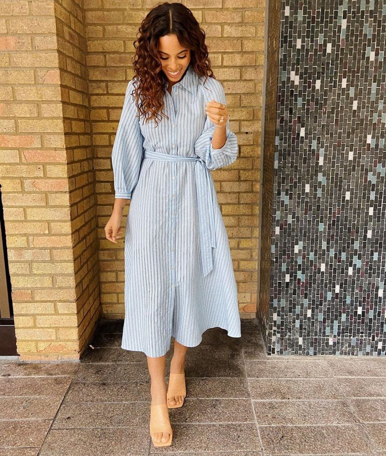 where to get Rochelle Humes This morning blue striped puff sleeve shirt dress 28 February 2020