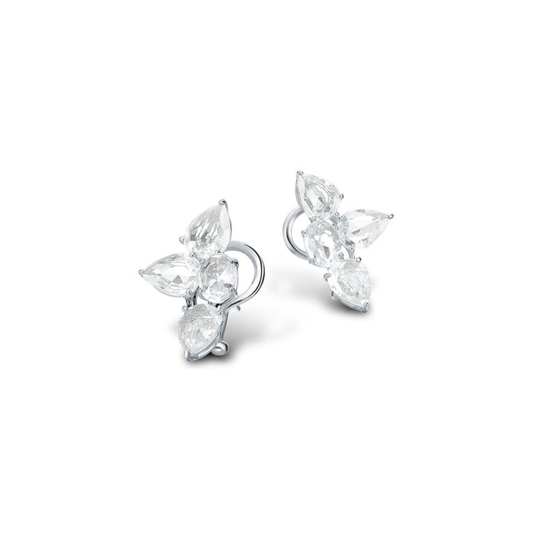 William and Som Beneath The Rose collection white gold and rose cut white sapphire earrings