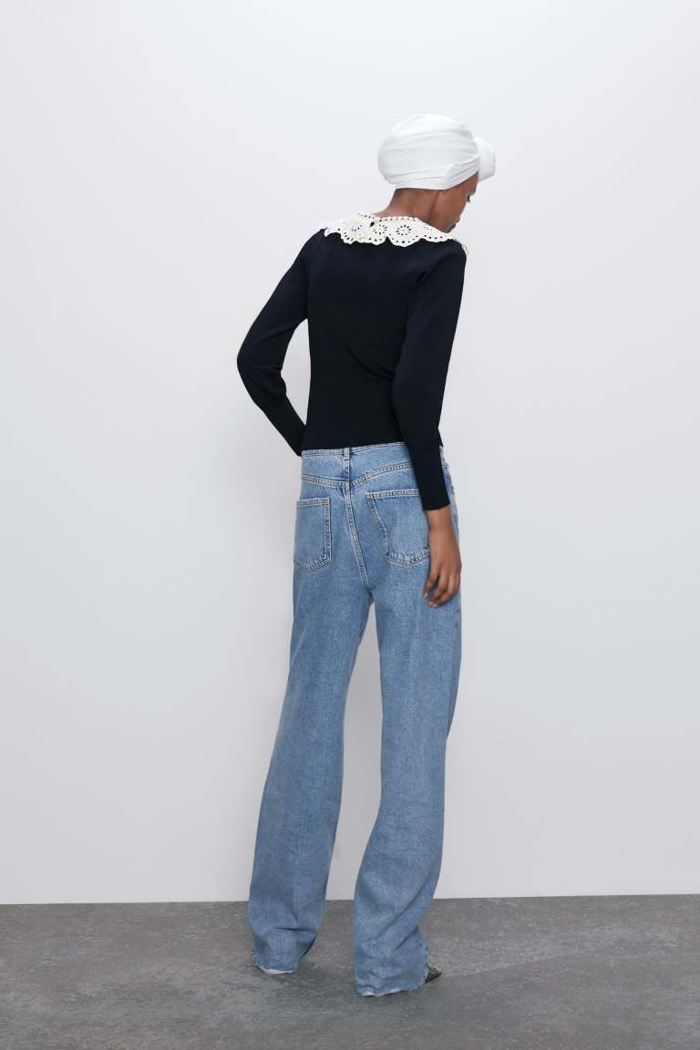 Zara Contrasting Ribbed Sweater back view