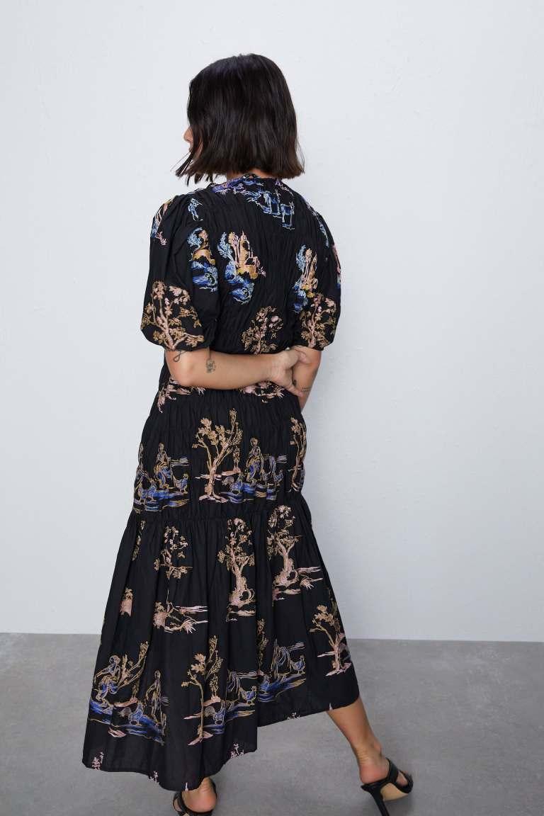 Zara Embroidered Stretch Dress back view
