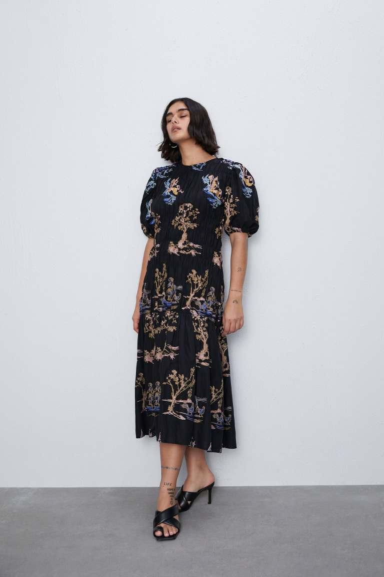 Zara Embroidered Stretch Dress
