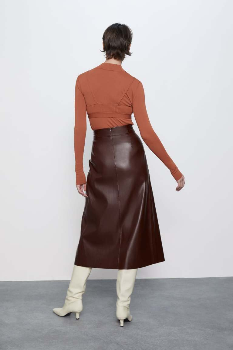 Zara Pleated Faux Leather Skirt back view