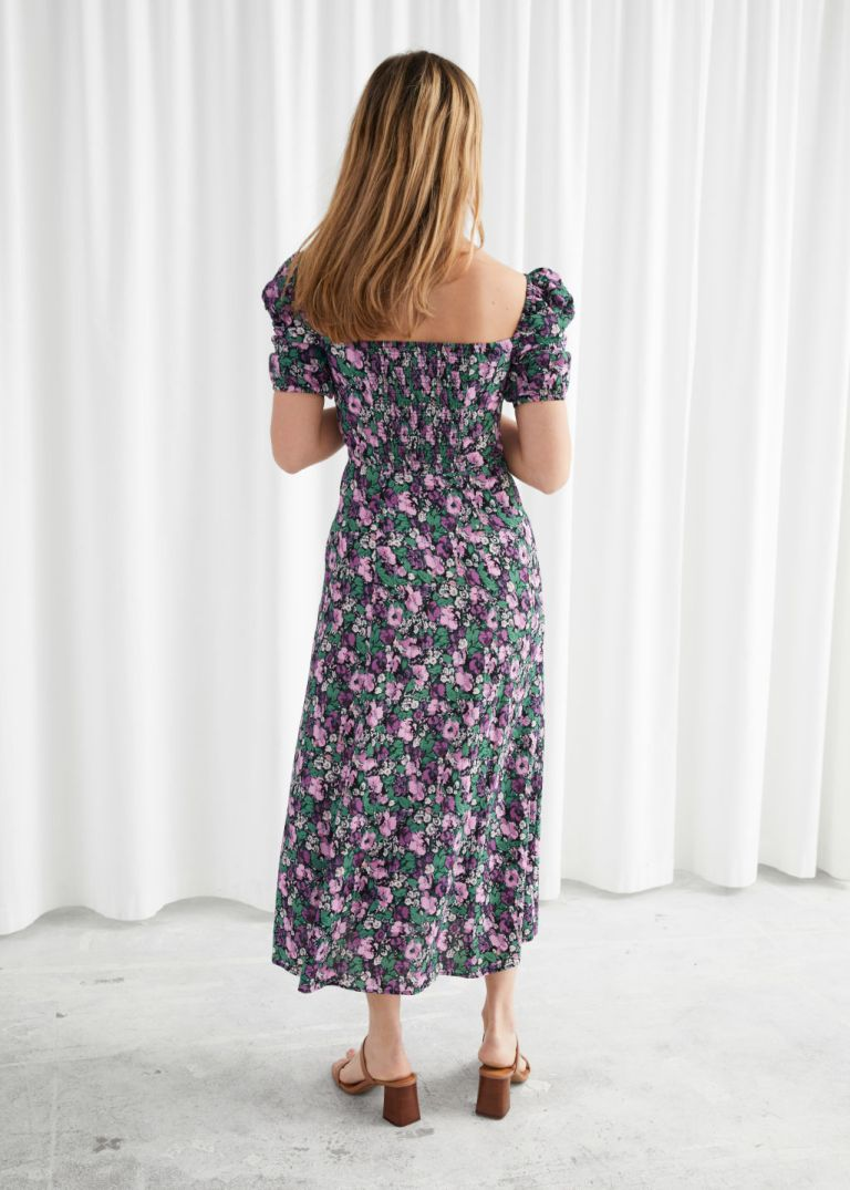 And Other Stories Puff Shoulder Crepe Midi Dress lilac back view
