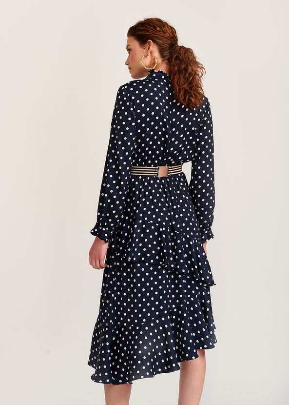 Essentiel Antwerp Vazongas Polka Dot Ruffled Midi Dress back view