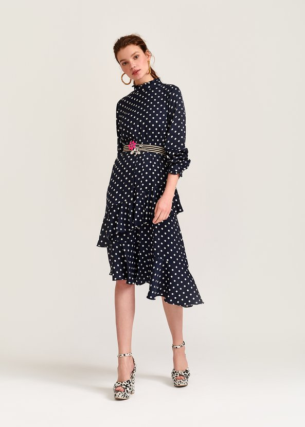 Essentiel Antwerp Vazongas Polka Dot Ruffled Midi Dress