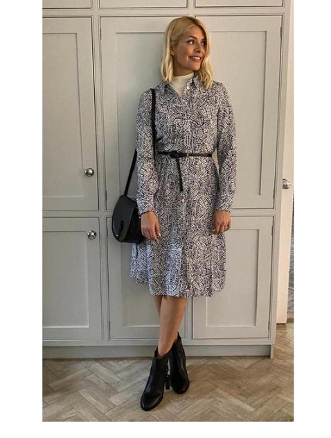 Where to get Holly Willoghby printed shirt dress black and white saddle bag black boots MArch 2020