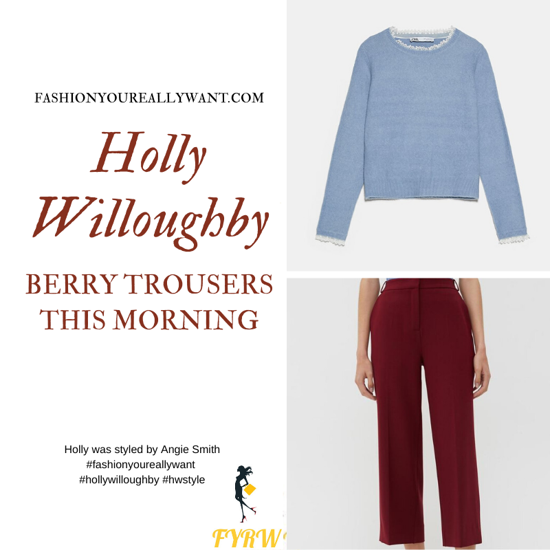 Where to get all Holly Willoughby This Morning outfits blog March 2020 berry maroon cropped trousers blue jumper edges with lace