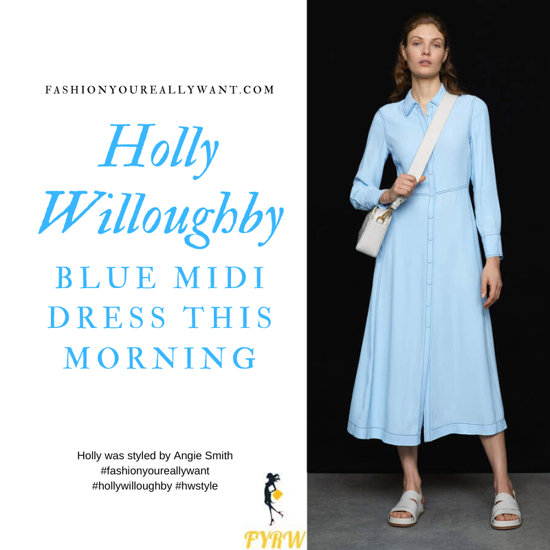 Where to get all Holly Willoughby This Morning outfits today blog March 2020 blue button front midi dress