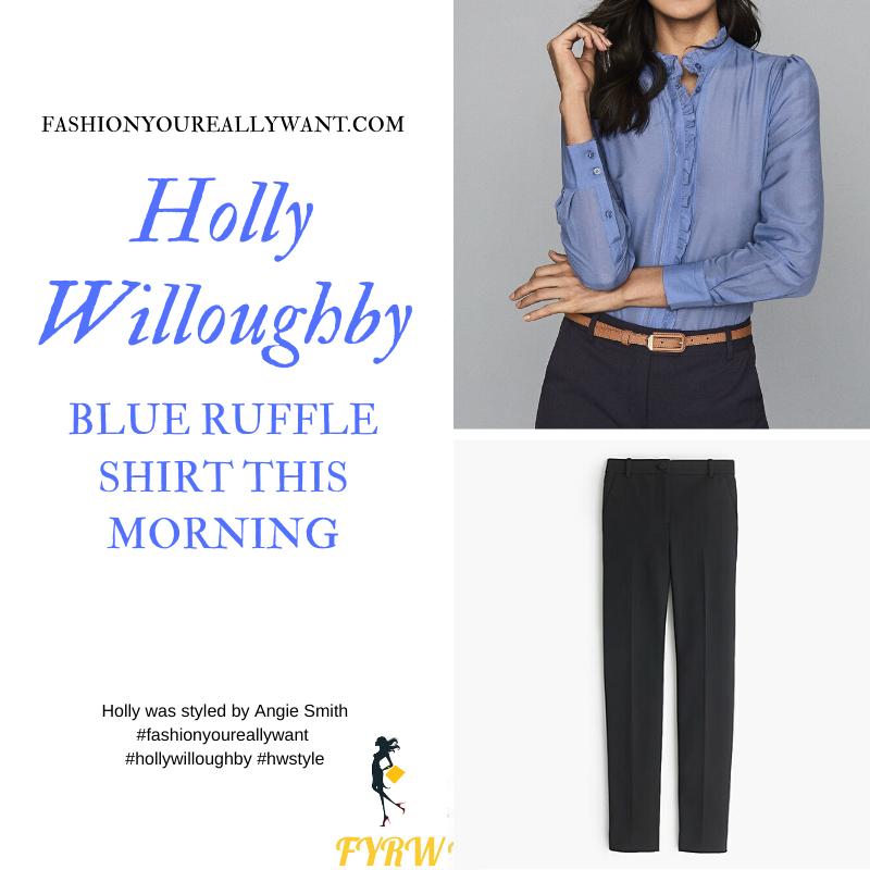 Where to get all Holly Willoughby This Morning outfuts blog March 2020 blue ruffle front shirt black trousers
