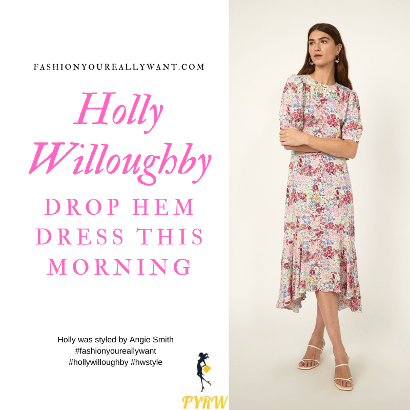 Where to get all Holly Willoughby This Morning outfits blog March 2020 multi floral short sleeve drop hem dress