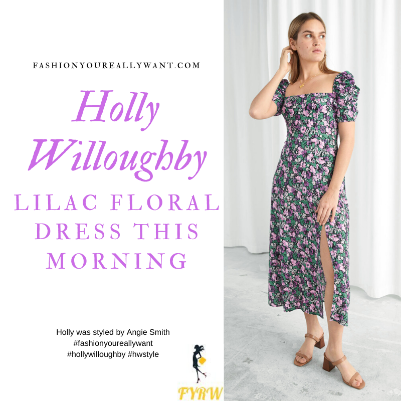 Where to get all Holly Willoughby This Morning outfits blog March 2020 lilac floral square neck puff sleeve dress