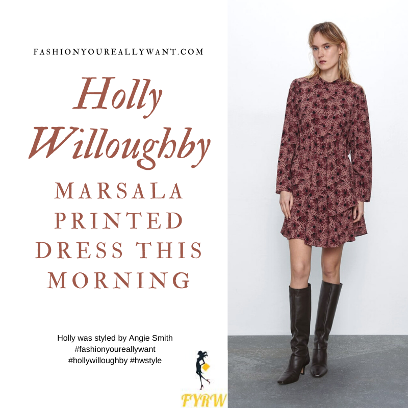 Where to get all Holly Willoughby This Morning outfits blog March 2020 burgundy floral and spot ruffle hem dress