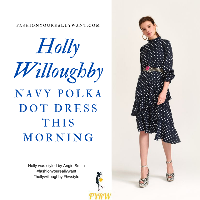 Where to get all Holly Willoughby This Morning outfits blog March 2020 navy blue white polka dot ruffle hem dress
