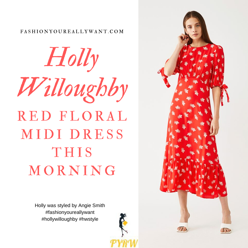 Where to get all Holly Willougby This Morning outfits blog March 2020 empire line red floral midi dress short sleeves tie