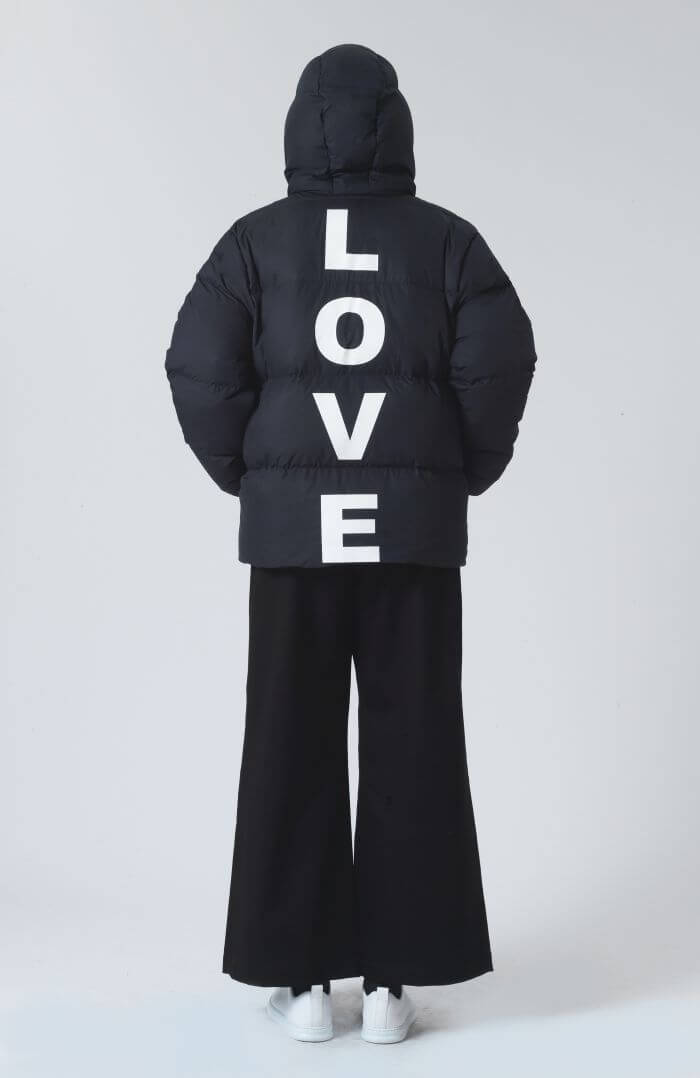 Katharine Hamnett Alistair Navy Recycled Polyester and Down Love Puffer Jacket