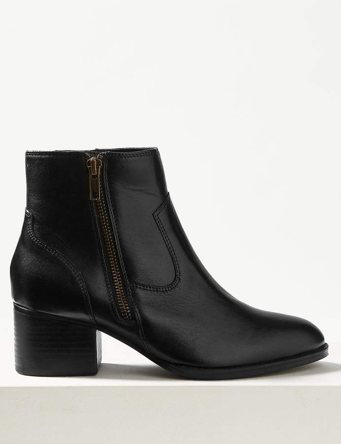 M&S CollectionMarks and Spencer Leather Block Heel Ankle Boots