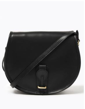 M&S Leather Saddle Cross Body Bag black