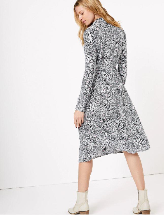 M&S Printed Shirt Midi Dress back view