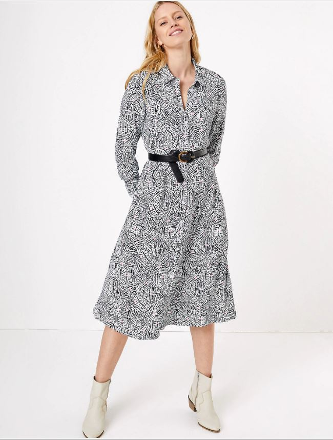 M&S Printed Shirt Midi Dress