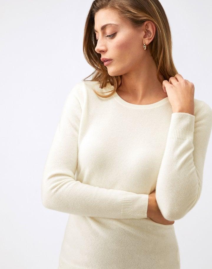 Pure Collection Cashmere Slim fit Crew Neck Sweater Soft white v2