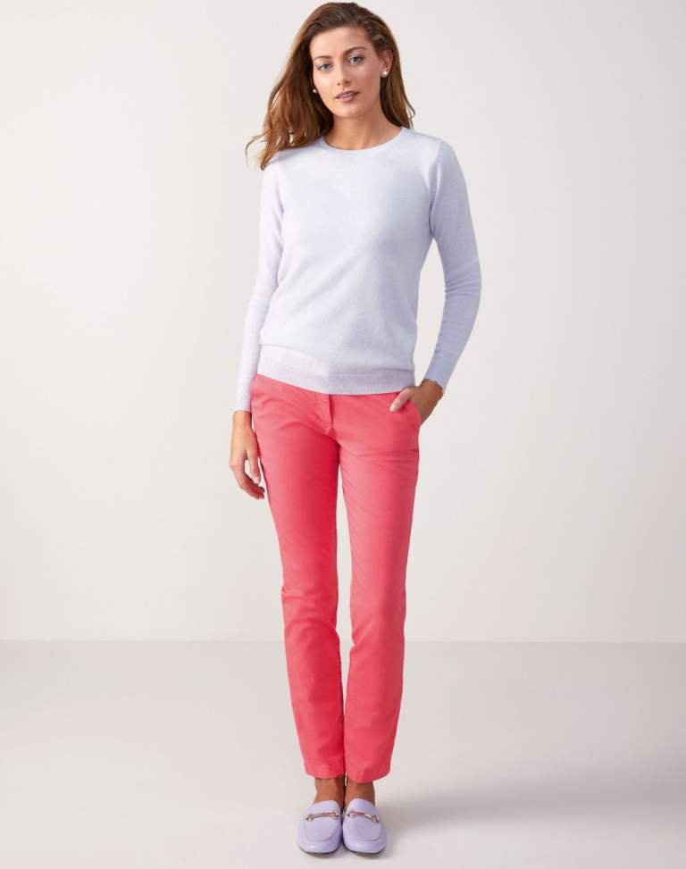 Pure Collection Cashmere Straight Fit Crew Neck Sweater - Cornflower Lilac v2