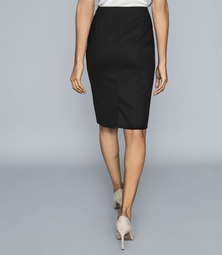 Reiss Hartley Textured Pencil Skirt back view