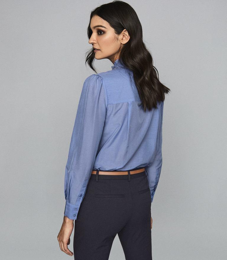 Reiss Liddy Blue Ruffle detail Shirt back view