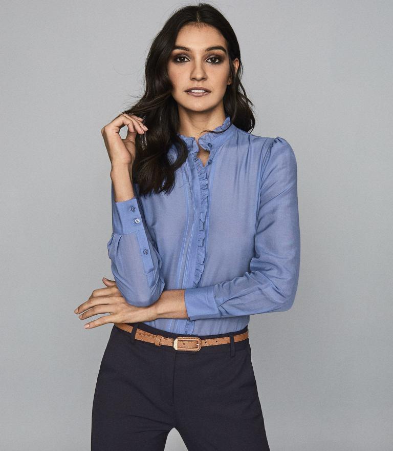 Reiss Liddy Blue Ruffle detsil Shirt
