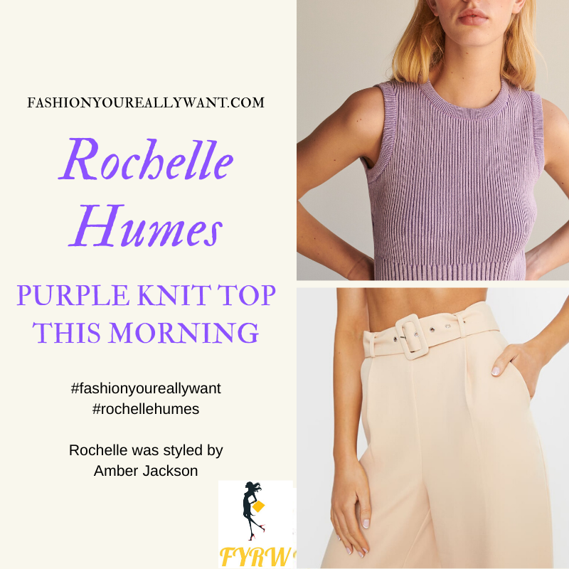 Where to get Rochelle Humes  This Morning outfit today blog March 2020 two ton purple ribbed top beige wide leg trousers sandals