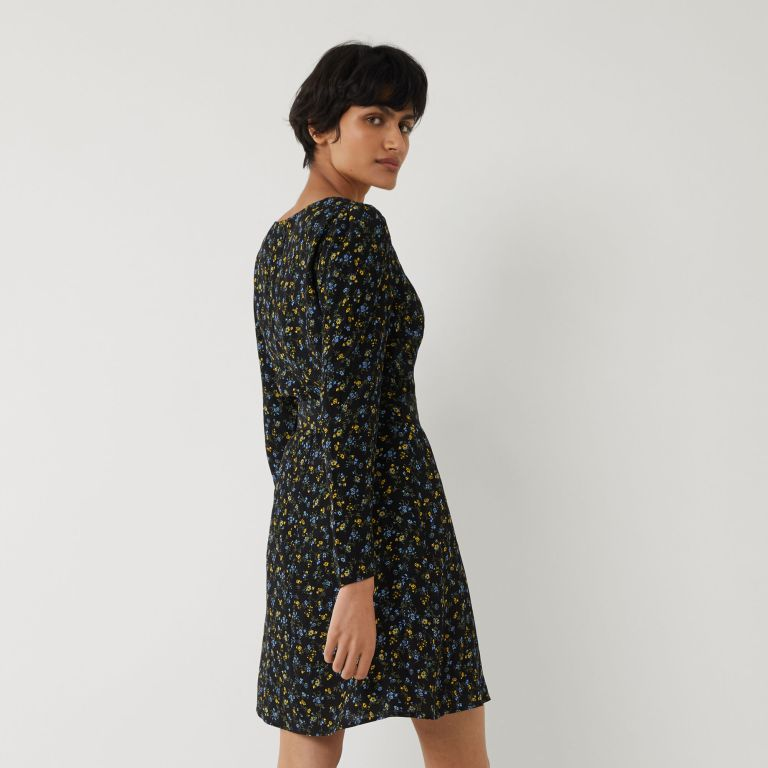 Warehouse Ditsy floral Belted Mini Dress back view