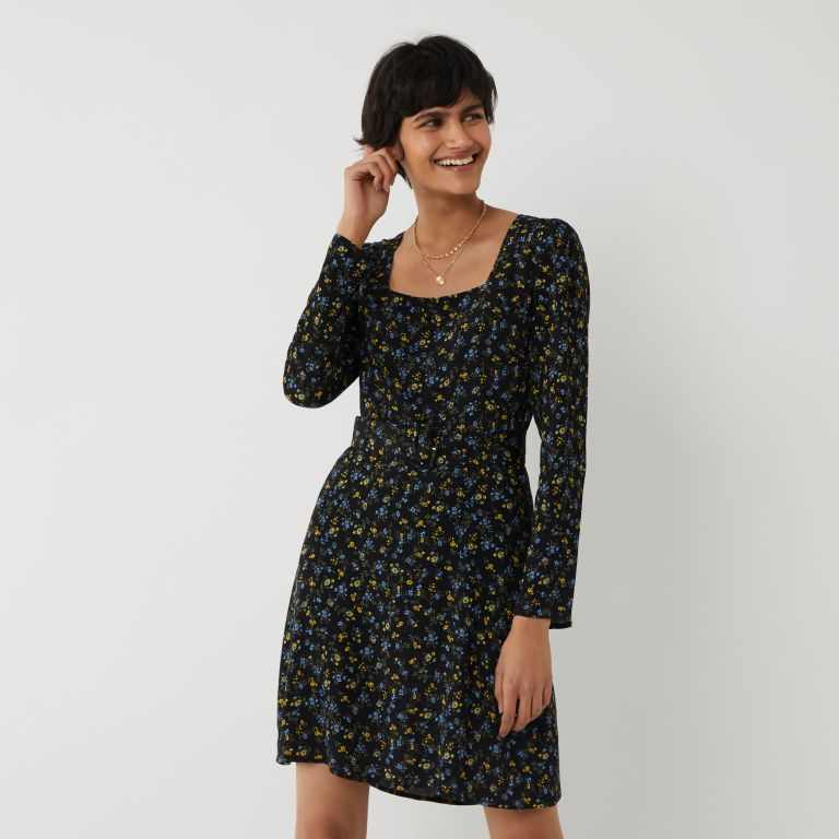 Warehouse Ditsy floral Belted Mini Dress