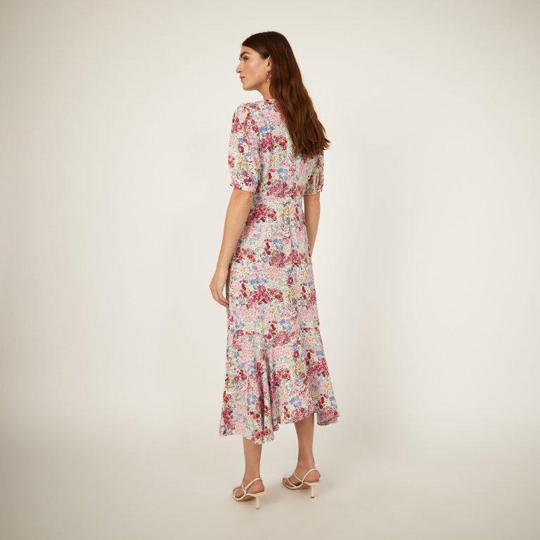 Warehouse Floral Drop Hem Midi Dress back hem