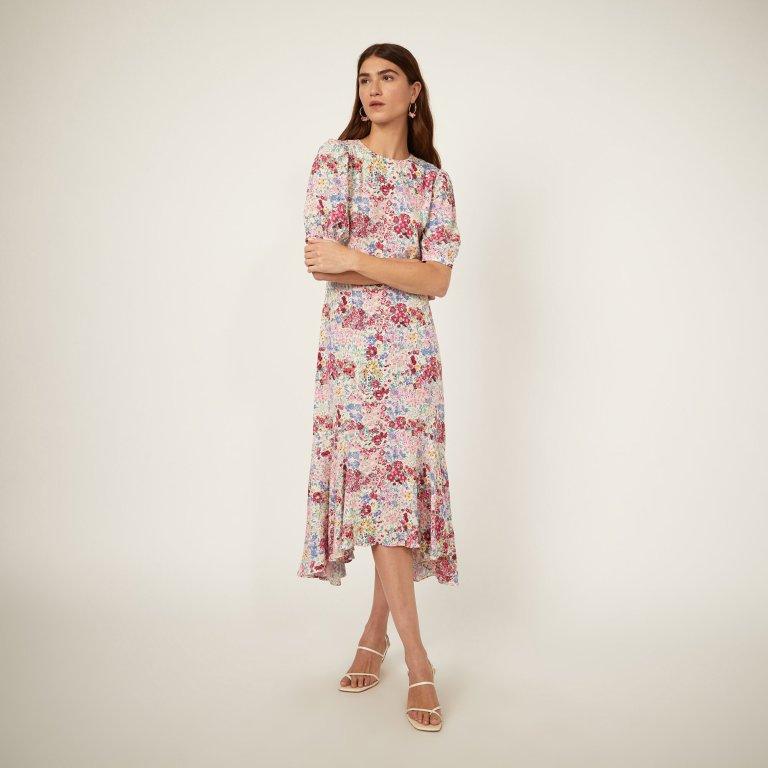 Warehouse Floral Drop Hem Midi Dress