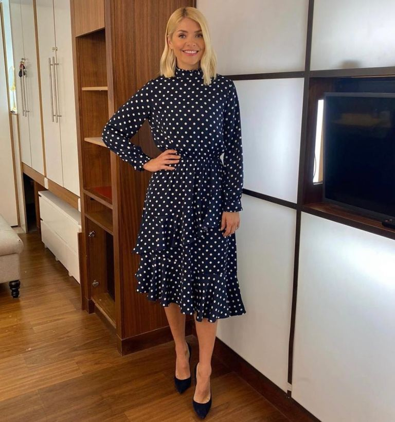 where to get all Holly Willoughby This Morning dresses navy off white polka dot ruffled midi dress 2 March 2020 Photo Holly Willoughby