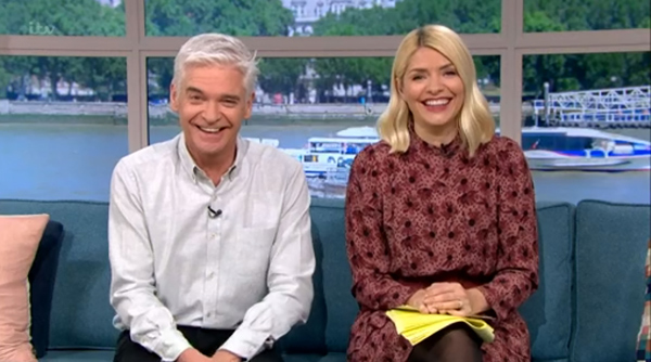 where to get all Holly willoughby This Morning dresses red brown burgudy floral printed mini dress 18 MArch 2020 Photo ITV