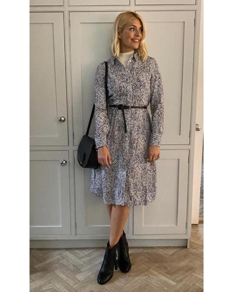 Where to get Holly Willoughby black and white shirt dress black boots 6 March 2020