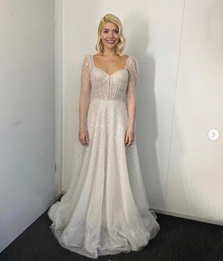 where to get Holly Willoughby Dancing on Ice final dress white pearl encrusted dress 8 MArch 2020 Photo Holly Willoughby