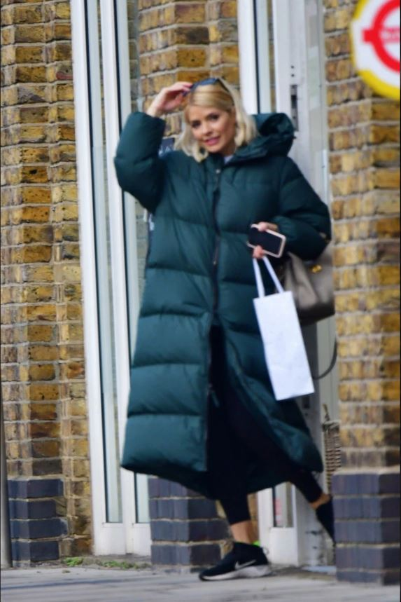 where to get Holly Willoughby green puffer coat grey handbag 11 February 2020 Photo Backgrid
