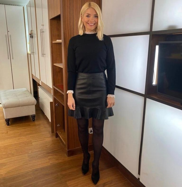 Where to get Holly Willoughby This Morning outfit today black ruffle faux leather skirt black lace trimmed jumper 9 March 2020 Photo Holly Willoughby