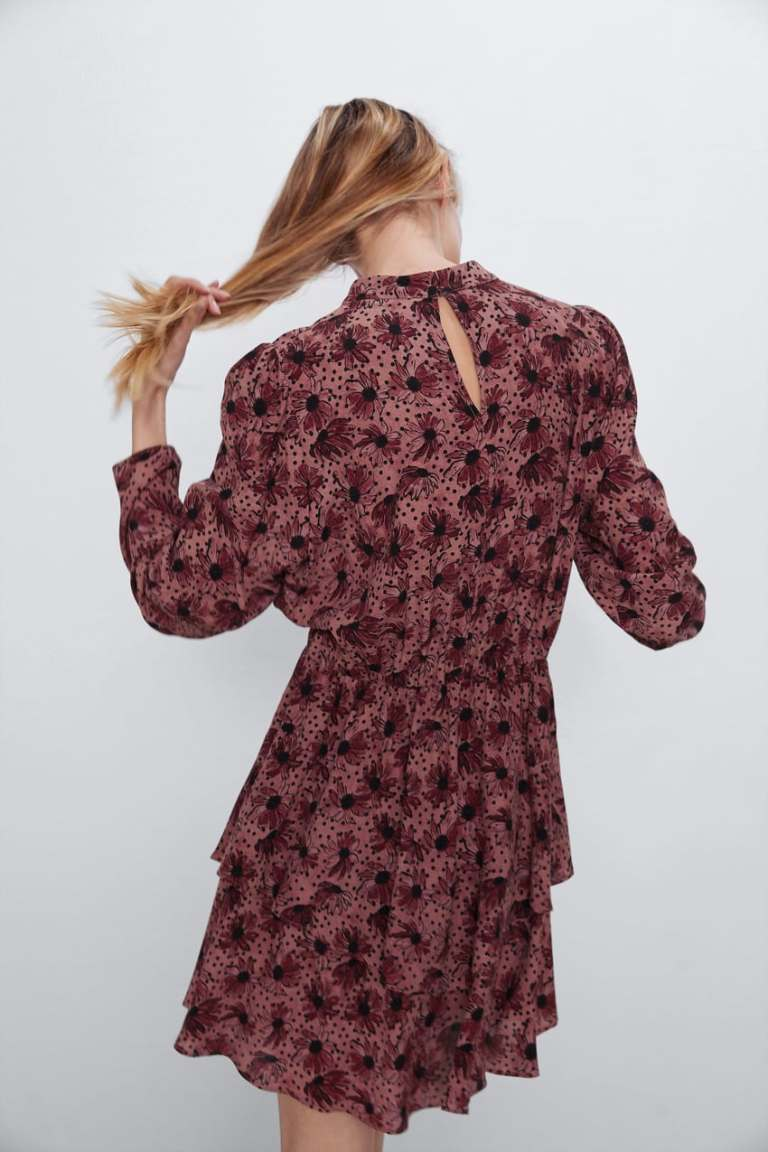 Zara Printed Dress With Ruffle Hem back view