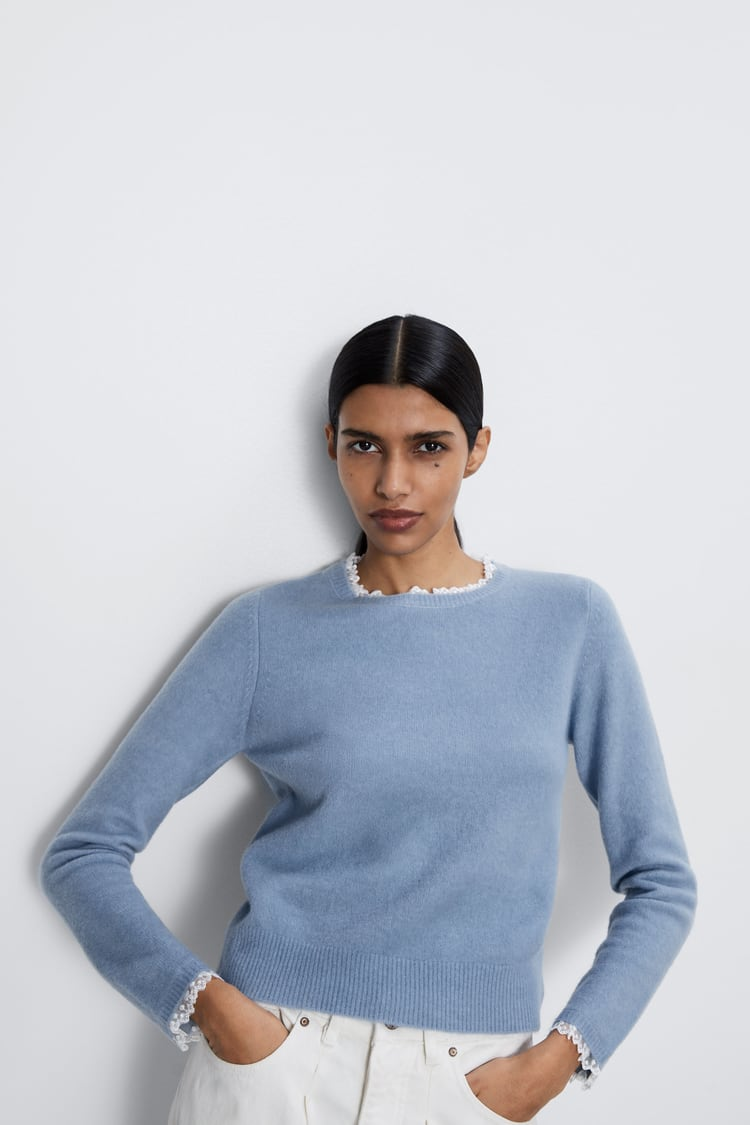 Zara Sweater With Doted Mesh Neck